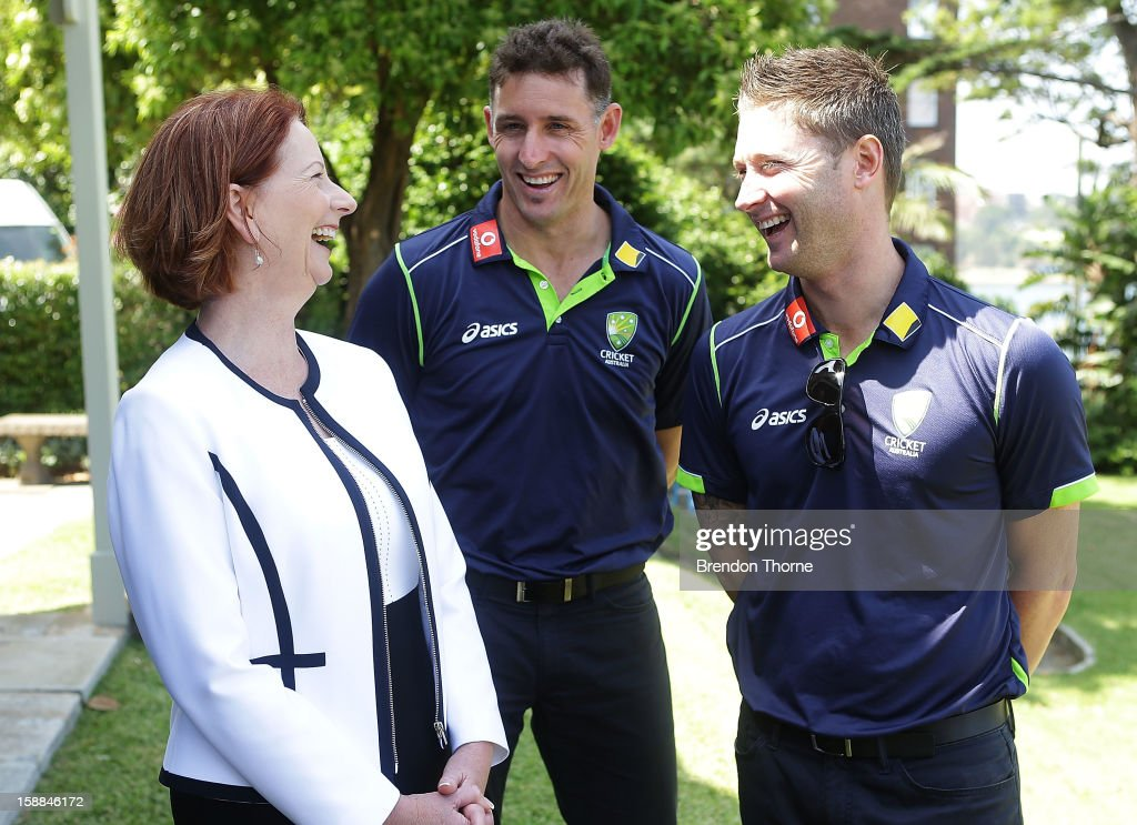 Australian Prime Minister, <a gi-track='captionPersonalityLinkClicked' href=/galleries/search?phrase=Julia+Gillard&family=editorial&specificpeople=787281 ng-click='$event.stopPropagation()'>Julia Gillard</a> shares a joke with <a gi-track='captionPersonalityLinkClicked' href=/galleries/search?phrase=Michael+Hussey&family=editorial&specificpeople=171690 ng-click='$event.stopPropagation()'>Michael Hussey</a> and Michael Clarke of Australia during a function at Kirribilli House on January 1, 2013 in Sydney, Australia.