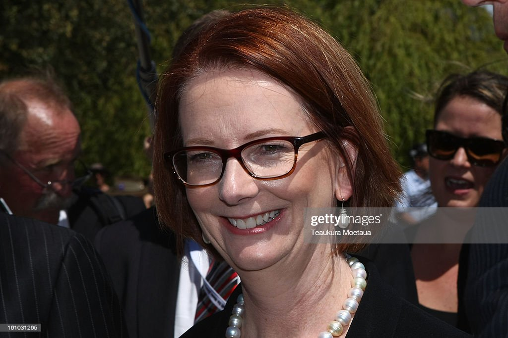 Australian Prime Minister <a gi-track='captionPersonalityLinkClicked' href=/galleries/search?phrase=Julia+Gillard&family=editorial&specificpeople=787281 ng-click='$event.stopPropagation()'>Julia Gillard</a> smiles after laying Wreaths at Queenstown War Memorial on February 9, 2013 in Queenstown, New Zealand. The annual talks are held over two days, with the economy and Asia-pacific defence matters as key items on the agenda.
