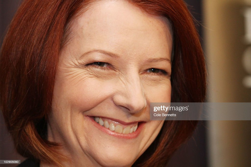 Australian Prime Minister <a gi-track='captionPersonalityLinkClicked' href=/galleries/search?phrase=Julia+Gillard&family=editorial&specificpeople=787281 ng-click='$event.stopPropagation()'>Julia Gillard</a> smiles during an address at the National Press Club on July 15, 2010 in Canberra, Australia. Speaking at the National Press Club as Prime Minister for the first time, Gillard stated that there will not be an 'old-style, spend-up-big campaign' in the upcoming election, which is speculated to take place in late August.