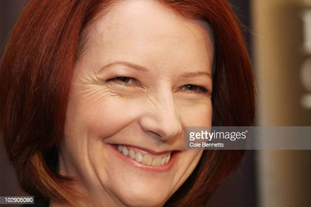 Australian Prime Minister Julia Gillard smiles during an address at the National Press Club on July 15 2010 in Canberra Australia Speaking at the...