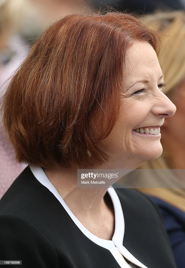Australian Prime Minister, Julia Gillard smiles during the Tony Greig memorial service at Sydney Cricket Ground on January 20, 2013 in Sydney, Australia.