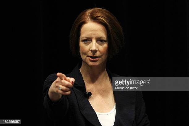 Australian Prime Minister Julia Gillard speaks at Brighton Secondary School on Education Reform at the South Australian Parliament house in on...