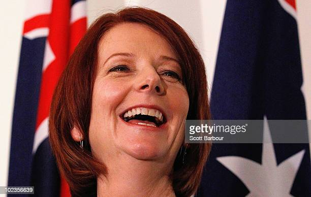 Australian Prime Minister Julia Gillard speaks during a press conference following the Australian Labor Party leadership spill which saw Gillard call...