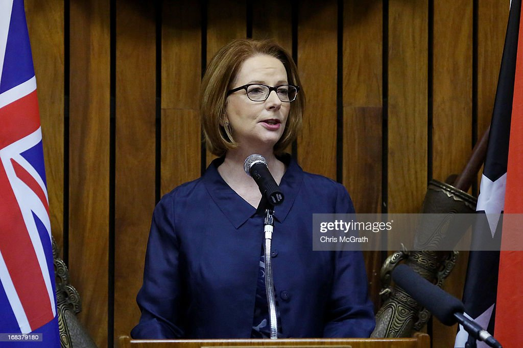 Australian Prime Minister <a gi-track='captionPersonalityLinkClicked' href=/galleries/search?phrase=Julia+Gillard&family=editorial&specificpeople=787281 ng-click='$event.stopPropagation()'>Julia Gillard</a> speaks during a state dinner held at Parliament House on May 9, 2013 in Port Moresby, Papua New Guinea. The trip is the first official visit for Prime Minister <a gi-track='captionPersonalityLinkClicked' href=/galleries/search?phrase=Julia+Gillard&family=editorial&specificpeople=787281 ng-click='$event.stopPropagation()'>Julia Gillard</a> to the Pacific Island Nation and the first visit since former prime minster Kevin Rudd visited in 2007. The three-day visit will include trips to a local market and primary school as well as tours of the Exxon Mobil Liquefied Natural Gas plant and the Bomana War Cemetery.