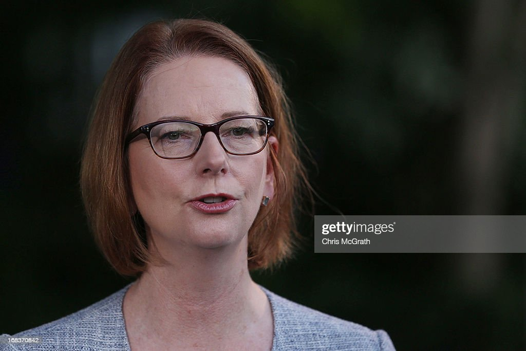 Australian Prime Minister <a gi-track='captionPersonalityLinkClicked' href=/galleries/search?phrase=Julia+Gillard&family=editorial&specificpeople=787281 ng-click='$event.stopPropagation()'>Julia Gillard</a> speaks to the media at a press conference on May 9, 2013 in Port Moresby, Papua New Guinea. The trip is the first official visit for Prime Minister <a gi-track='captionPersonalityLinkClicked' href=/galleries/search?phrase=Julia+Gillard&family=editorial&specificpeople=787281 ng-click='$event.stopPropagation()'>Julia Gillard</a> to the Pacific Island Nation and the first visit since former prime minster Kevin Rudd visited in 2007. The three-day visit will include trips to a local market and primary school as well as tours of the Exxon Mobil Liquefied Natural Gas plant and the Bomana War Cemetery.