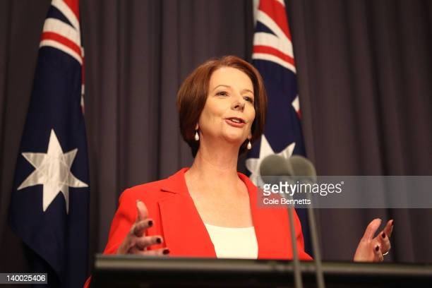 Australian Prime Minister Julia Gillard speaks to the media at Parliament House on February 27 2012 in Canberra Australia Prime Minister Gillard...
