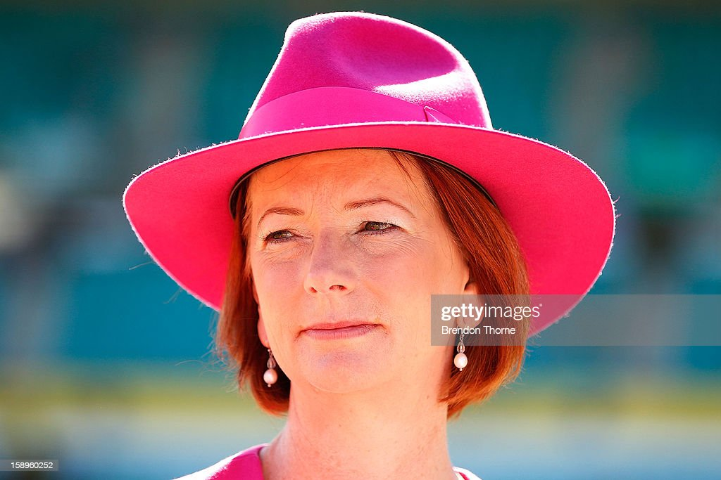Australian Prime Minister, Julia Gillard speaks with a McGrath breast care nurse prior to day two of the Third Test match between Australia and Sri Lanka at Sydney Cricket Ground on January 4, 2013 in Sydney, Australia. The Australian Government has committed a further $18.5 millon to the McGrath Foundation's specialist breast care nurses.