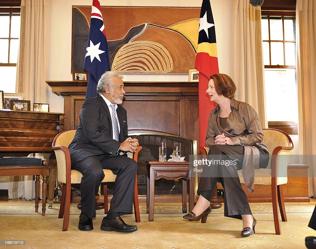 Australian Prime Minister <a gi-track='captionPersonalityLinkClicked' href=/galleries/search?phrase=Julia+Gillard&family=editorial&specificpeople=787281 ng-click='$event.stopPropagation()'>Julia Gillard</a> speaks with East Timorese Prime Minister <a gi-track='captionPersonalityLinkClicked' href=/galleries/search?phrase=Xanana+Gusmao&family=editorial&specificpeople=223915 ng-click='$event.stopPropagation()'>Xanana Gusmao</a> at the Lodge, on February 18, 2012 in Canberra, Australia. Mr Gusmao will visit Canberra, Sydney, Darwin, and Melbourne during his six day visit to Australia.