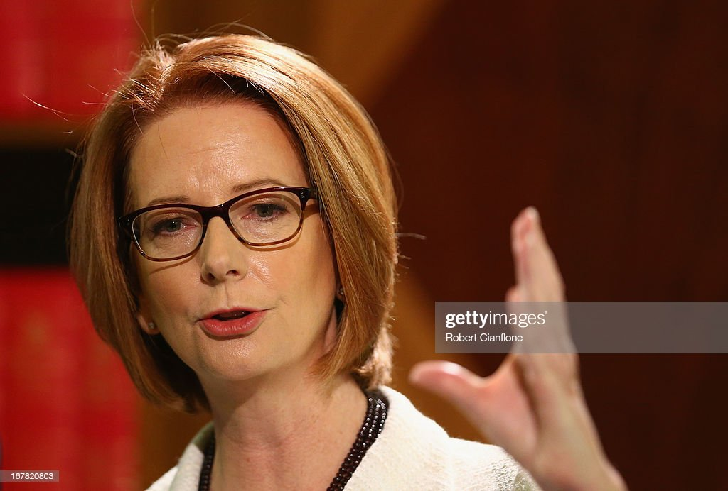Australian Prime Minister <a gi-track='captionPersonalityLinkClicked' href=/galleries/search?phrase=Julia+Gillard&family=editorial&specificpeople=787281 ng-click='$event.stopPropagation()'>Julia Gillard</a> talks to the media at a press conference at the Commonwealth Parliamentary Office on May 1, 2013 in Melbourne, Australia. Gillard has announced that the Federal Government will increase the Medicare levy on income tax from 1.5 to two percent to help fund the National Disability Insurance Scheme (NDIS). The levy will begin on July 1, 2014 and is expected to raise around $3.2 billion annually towards the NDIS which is expected to cost $8 billion per year.