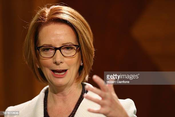 Australian Prime Minister Julia Gillard talks to the media at a press conference at the Commonwealth Parliamentary Office on May 1 2013 in Melbourne...