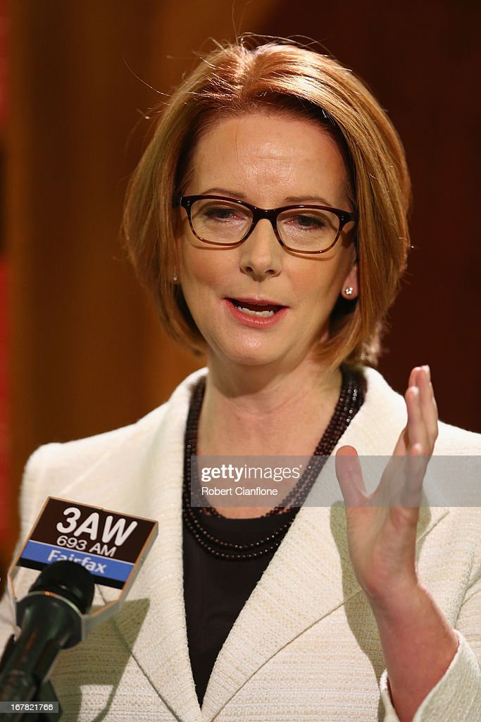 Australian Prime Minister Julia Gillard talks to the media at a press conference at the Commonwealth Parliamentary Office on May 1, 2013 in Melbourne, Australia. Gillard has announced that the Federal Government will increase the Medicare levy on income tax from 1.5 to two percent to help fund the National Disability Insurance Scheme (NDIS). The levy will begin on July 1, 2014 and is expected to raise around $3.2 billion annually towards the NDIS which is expected to cost $8 billion per year.