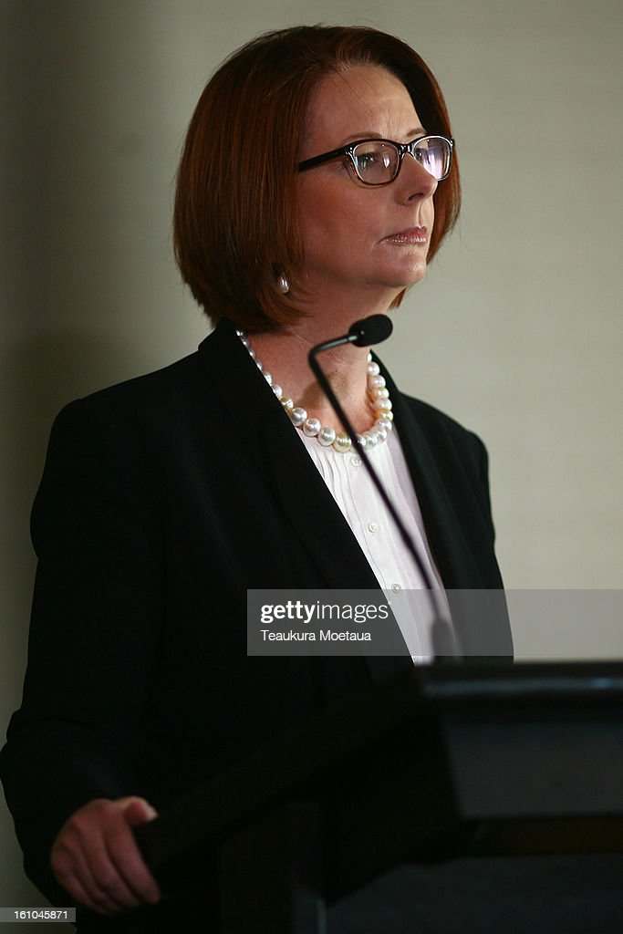 Australian Prime Minister <a gi-track='captionPersonalityLinkClicked' href=/galleries/search?phrase=Julia+Gillard&family=editorial&specificpeople=787281 ng-click='$event.stopPropagation()'>Julia Gillard</a> talks to the Media at Hilton Hotel on February 9, 2013 in Queenstown, New Zealand. The annual talks are held over two days, with the economy and Asia-pacific defence matters as key items on the agenda.