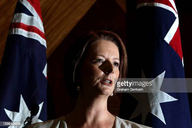Australian Prime Minister Julia Gillard talks to the media during a press conference held at the Commonwealth Offices on February 24 2012 in...