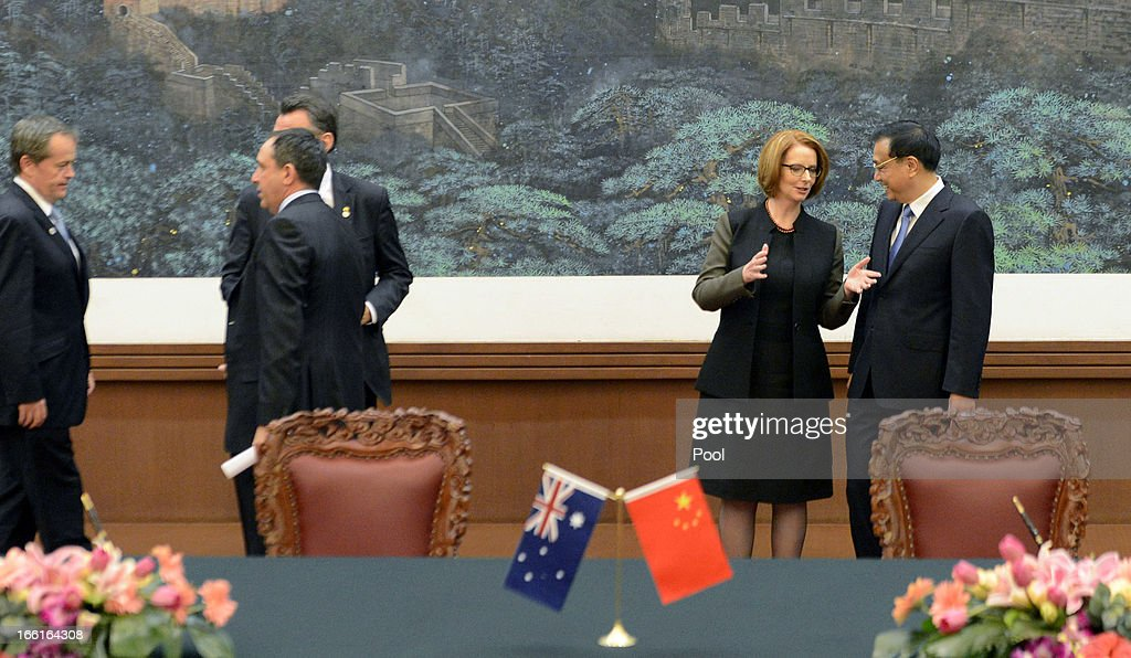 Australian Prime Minister Julia Gillard talks with Chinese Premier Li Keqiang during a meeting at the Great Hall of the People on April 9, 2013 in Beijing, China. Gillard spoke of building stronger defense ties with China.