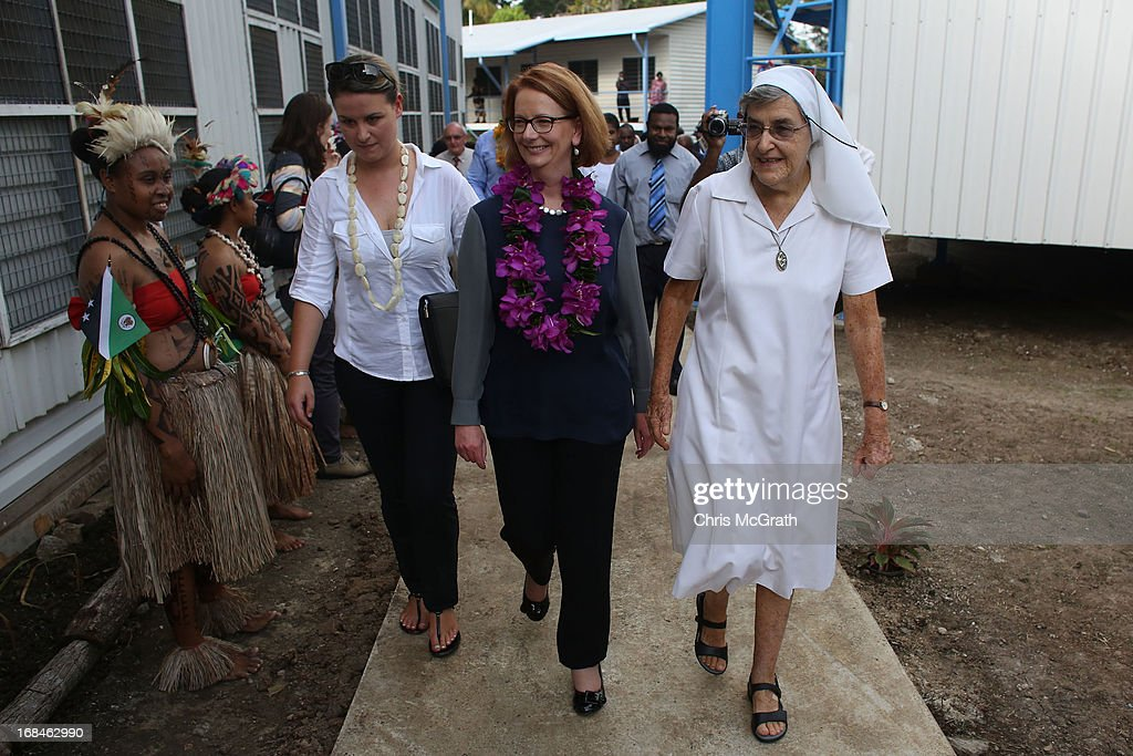 Australian Prime Minister Julia Gillard tours Marianville girls secondary school on May 10, 2013 in Port Moresby, Papua New Guinea. The three-day visit is a chance for the two nations to strengthen economic ties, with talks being held on key issues including, trade, military defense, and the controversial Australian detention center on Manus Island.The trip is the first official visit for Prime Minister Julia Gillard to the Pacific Island Nation and the first visit since former prime minster Kevin Rudd visited in 2007.