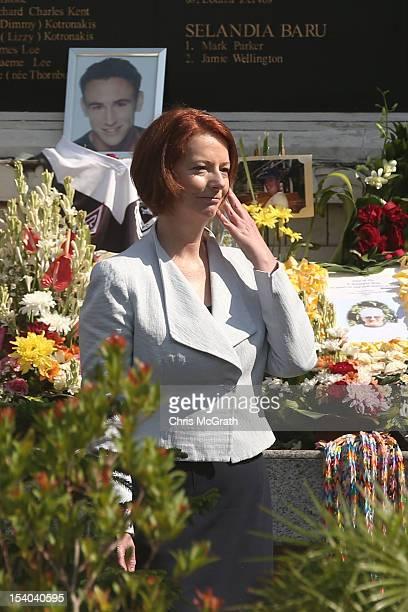 Australian Prime Minister Julia Gillard views the Bali Bombing Memorial at Jalan Legian Bali on October 13 2012 in Indonesia The Prime Ministers...