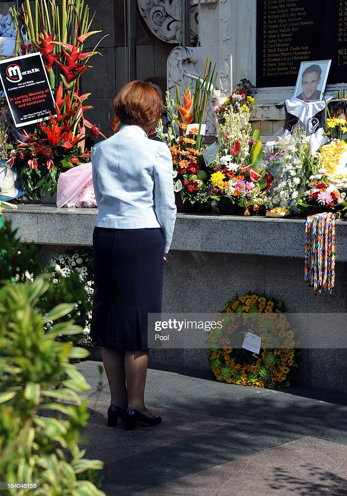 Australian Prime Minister <a gi-track='captionPersonalityLinkClicked' href=/galleries/search?phrase=Julia+Gillard&family=editorial&specificpeople=787281 ng-click='$event.stopPropagation()'>Julia Gillard</a> visits the 2002 Bali bombings memorial monument on the Indonesian resort island of Bali on October 13, 2012 in Kuta, Indonesia. Hundreds of survivors and relatives of the dead on October 12 paid tearful tributes to the 202 people killed in the Bali bombings 10 years ago.