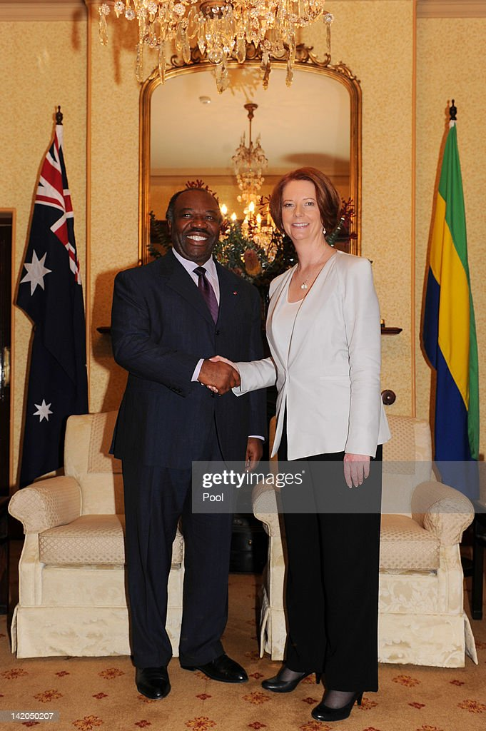 Australian Prime Minister <a gi-track='captionPersonalityLinkClicked' href=/galleries/search?phrase=Julia+Gillard&family=editorial&specificpeople=787281 ng-click='$event.stopPropagation()'>Julia Gillard</a> welcomes His Excellency <a gi-track='captionPersonalityLinkClicked' href=/galleries/search?phrase=Ali+Bongo+Ondimba&family=editorial&specificpeople=6166342 ng-click='$event.stopPropagation()'>Ali Bongo Ondimba</a>, President of the Gabonese Republic to Kirribilli House on March 29, 2012 in Sydney, Australia.
