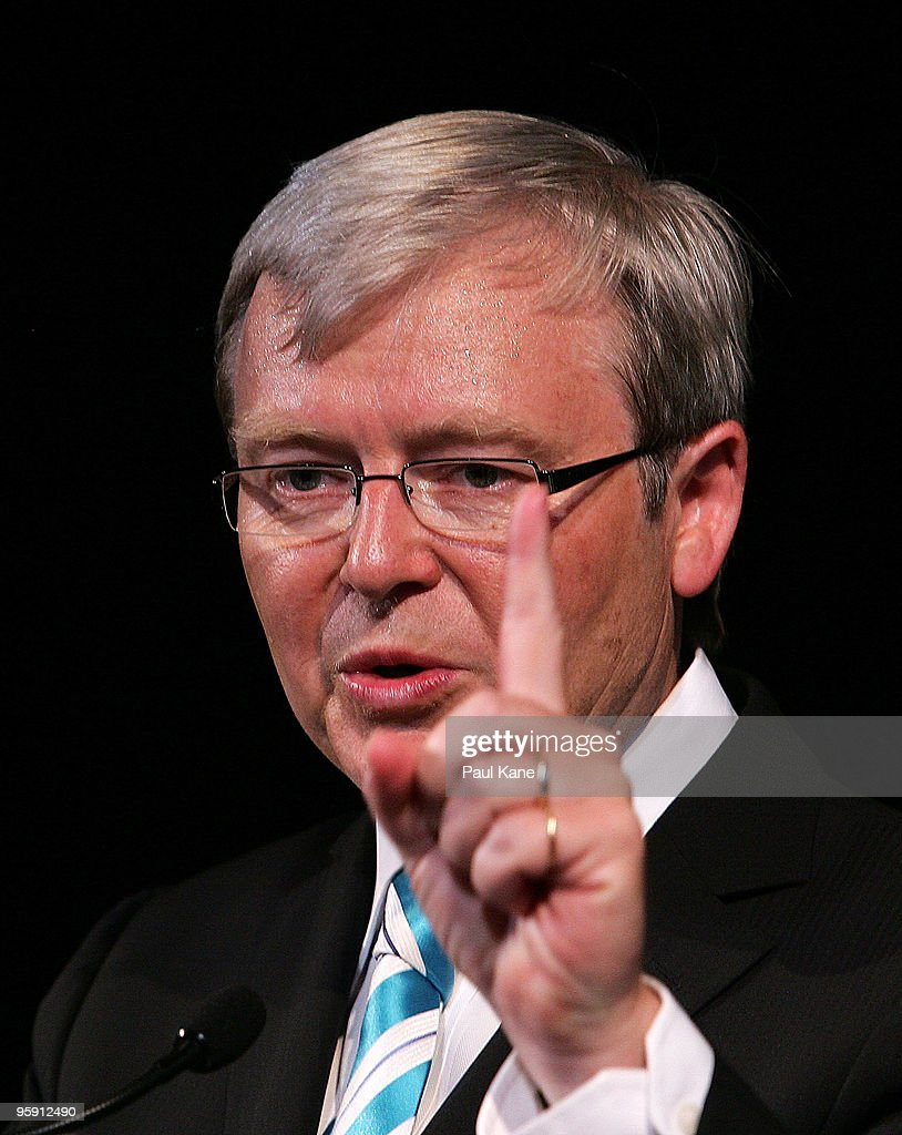 Australian Prime Minister Kevin Rudd addresses attending guests during an Australia Day Reception at the Perth Town Hall on January 21 2010 in Perth...