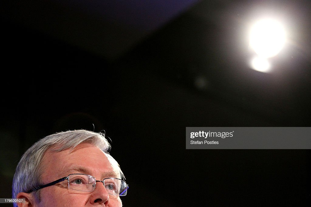 Australian Prime Minister Kevin Rudd addresses to the National Press Club on September 5 2013 in Canberra Australia If the latest polling continues...
