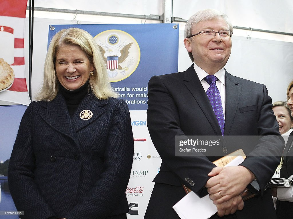 Australian Prime Minister <a gi-track='captionPersonalityLinkClicked' href=/galleries/search?phrase=Kevin+Rudd&family=editorial&specificpeople=707751 ng-click='$event.stopPropagation()'>Kevin Rudd</a> and Becky Bleich react to the United States Ambassador's speach during a 4th of July celebration event at the US Embassy on July 3, 2013 in Canberra, Australia. The 4th of July is the national holiday of the Unites States celebrating its signing of the Declaration of Independence from Great Britain.