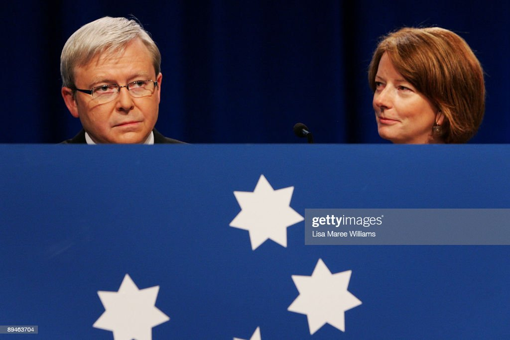 Australian Prime Minister Kevin Rudd and Deputy Prime Minister Julia Gillard arrive at the 45th National Labor Conference on July 30, 2009 in Sydney, Australia.The conference will be attended by 400 delegates, state and territory leaders and the many hundreds of observers who come along to watch proceedings.