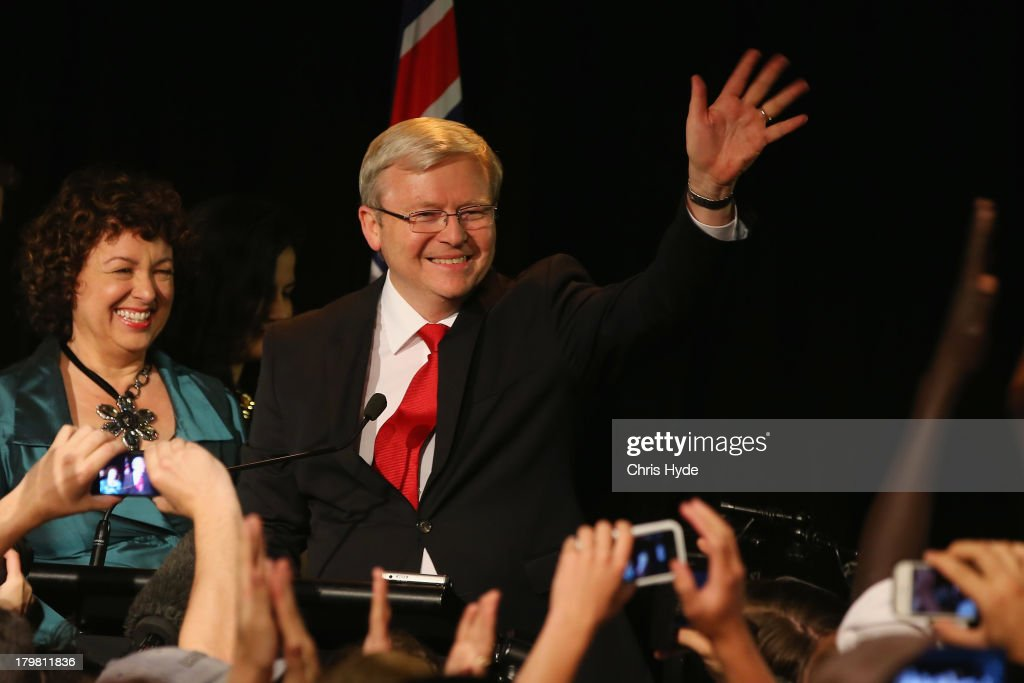Australian Prime Minister Kevin Rudd and his wife Therese concede defeat on September 7 2013 in Brisbane Australia LiberalNational Coalition leader...