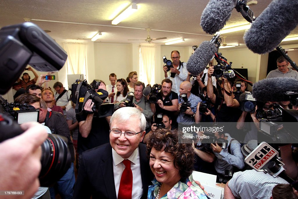 Australian Prime Minister Kevin Rudd and his wife Therese Rein arrive to vote at St Paul's Church in the seat of Griffith on September 7 2013 in...