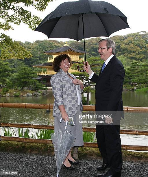 Australian Prime Minister Kevin Rudd and his wife Therese Rein visit to Kinkakuji Zen temple on June 9 2008 in Kyoto Japan Rudd is on a 5day state...