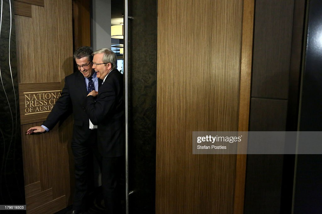 Australian Prime Minister Kevin Rudd arrives at the National Press Club on September 5 2013 in Canberra Australia With just two days of campaigning...