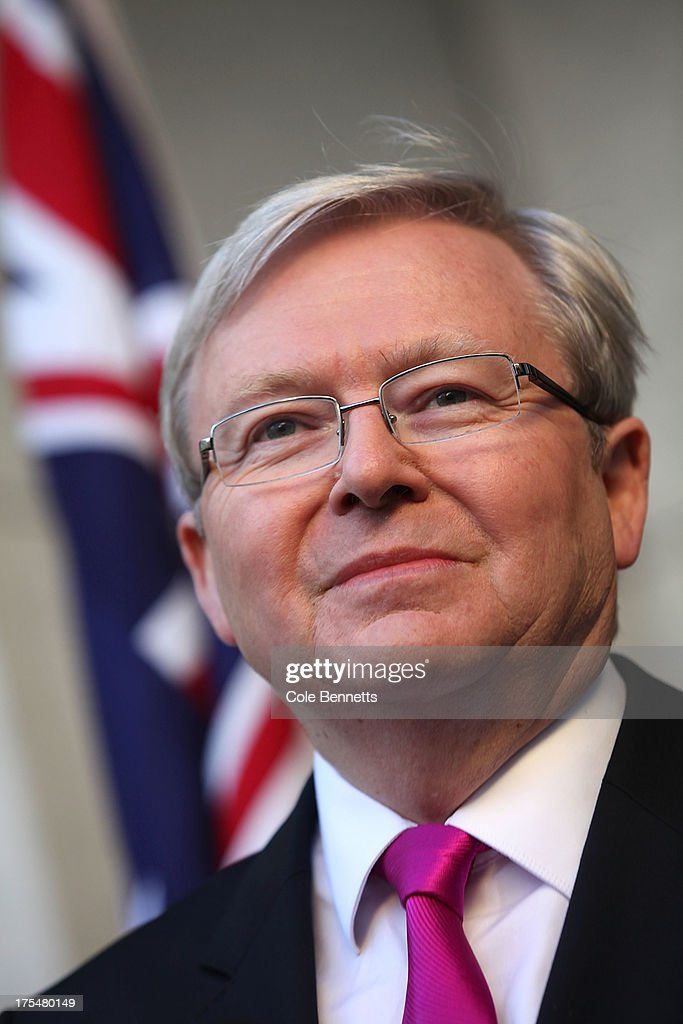 Australian Prime Minister Kevin Rudd attends a press conference at Parliament House on August 04 2013 in Canberra Australia Labour party leader and...