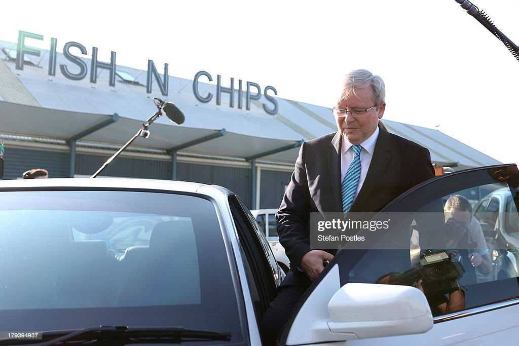 Australian Prime Minister, <a gi-track='captionPersonalityLinkClicked' href=/galleries/search?phrase=Kevin+Rudd&family=editorial&specificpeople=707751 ng-click='$event.stopPropagation()'>Kevin Rudd</a> gets in to his car after speaking to the media outside Peppers Seaport Hotel on September 3, 2013 in Launceston, Australia. The PM discussed the Australian Reserve Bank's decision to hold interest rates at 2.5 per cent. The Australian Labor Party hold four of the five seats in the island state, but all are considered vulnerable to falling to the Liberal-National Party coalition. Australian voters will head to the polls on September 7 to elect the 44th parliament.