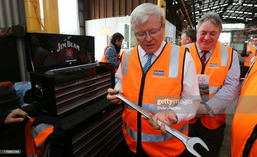 Australian Prime Minister <a gi-track='captionPersonalityLinkClicked' href=/galleries/search?phrase=Kevin+Rudd&family=editorial&specificpeople=707751 ng-click='$event.stopPropagation()'>Kevin Rudd</a> inspects a spanner as he tours the Simplot food processing centre on September 3, 2013 in Devenport, Australia. The Australian Labor Party hold four of the five seats in the island state, but all are considered vulnerable to falling to the Liberal-National Party coalition. Australian voters will head to the polls on September 7 to elect the 44th parliament.