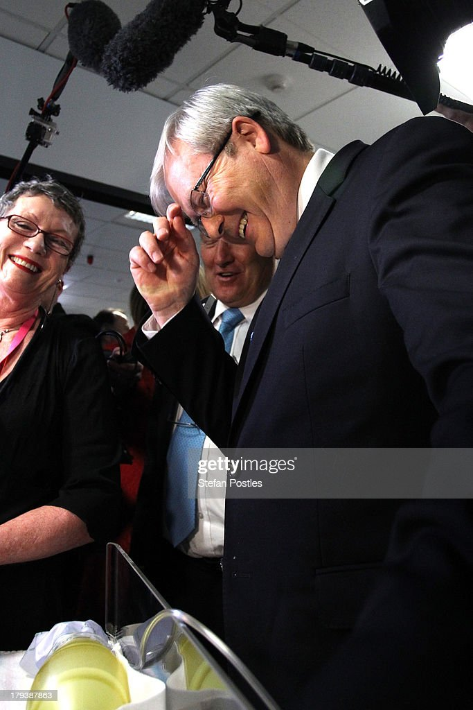 Australian Prime Minister, <a gi-track='captionPersonalityLinkClicked' href=/galleries/search?phrase=Kevin+Rudd&family=editorial&specificpeople=707751 ng-click='$event.stopPropagation()'>Kevin Rudd</a> laughs at a joke at the UTAS Simulation and Clinical Education Centre on September 3, 2013 in Launceston, Australia. The Australian Labor Party hold four of the five seats in the island state, but all are considered vulnerable to falling to the Liberal-National Party coalition. Australian voters will head to the polls on September 7 to elect the 44th parliament.