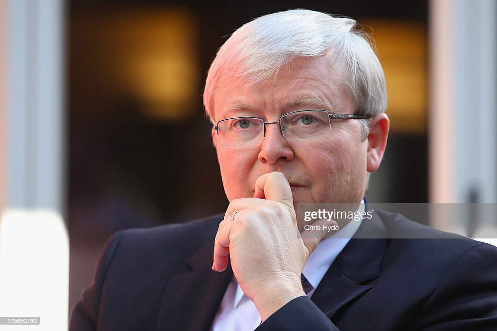 Australian Prime Minister <a gi-track='captionPersonalityLinkClicked' href=/galleries/search?phrase=Kevin+Rudd&family=editorial&specificpeople=707751 ng-click='$event.stopPropagation()'>Kevin Rudd</a> looks on during a debate at the Colmslie Hotel on August 6, 2013 in Brisbane, Australia. On the second day of the federal election campaign the Prime Minister debated Bill Glasson, the Coalition candidate for Rudd's seat of Griffith.