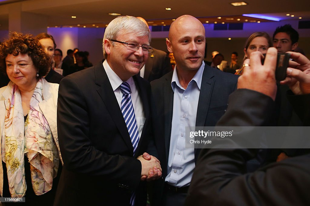 Australian Prime Minister <a gi-track='captionPersonalityLinkClicked' href=/galleries/search?phrase=Kevin+Rudd&family=editorial&specificpeople=707751 ng-click='$event.stopPropagation()'>Kevin Rudd</a> poses for a photo after a debate at the Colmslie Hotel on August 6, 2013 in Brisbane, Australia. On the second day of the federal election campaign the Prime Minister debated Bill Glasson, the Coalition candidate for Rudd's seat of Griffith.