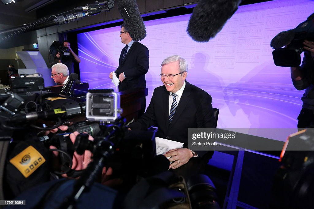 Australian Prime Minister Kevin Rudd prepares to speak at the National Press Club on September 5 2013 in Canberra Australia With just two days of...