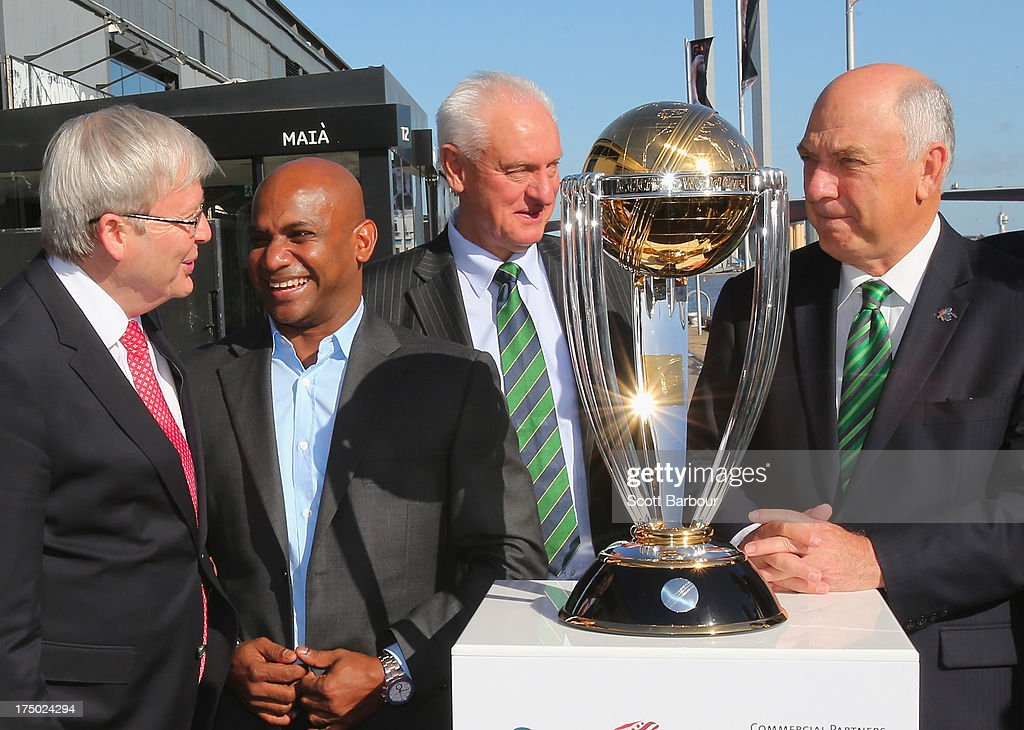 Australian Prime Minister Kevin Rudd Sanath Jayasuriya former captain of Sri Lanka and Ralph Waters Chairman ICC Cricket World Cup 2015 pose with the...