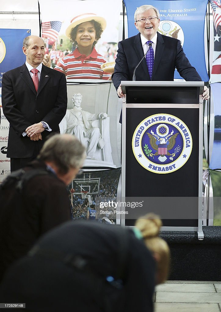 Australian Prime Minister <a gi-track='captionPersonalityLinkClicked' href=/galleries/search?phrase=Kevin+Rudd&family=editorial&specificpeople=707751 ng-click='$event.stopPropagation()'>Kevin Rudd</a> speaks during a 4th of July celebration event at the US Embassy on July 3, 2013 in Canberra, Australia. The 4th of July is the national holiday of the Unites States celebrating its signing of the Declaration of Independence from Great Britain.