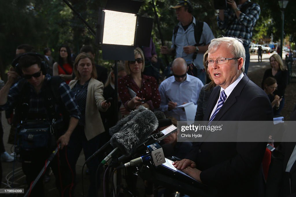 Australian Prime Minister <a gi-track='captionPersonalityLinkClicked' href=/galleries/search?phrase=Kevin+Rudd&family=editorial&specificpeople=707751 ng-click='$event.stopPropagation()'>Kevin Rudd</a> speaks during a media conference at the Botanic Gardens on August 6, 2013 in Brisbane, Australia. Rudd joined Deputy Prime Minister Anthony Albanese in a press conference to announce that the ALP is committed to building the Cross River Rail, an AUD$5.2bn infrastructure project in Brisbane.