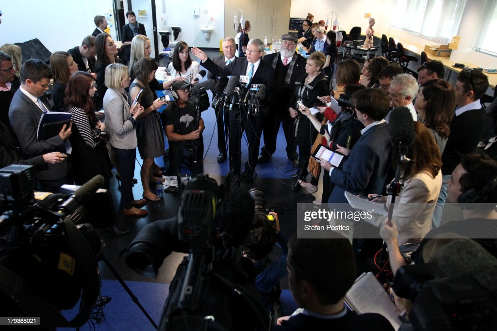 Australian Prime Minister, <a gi-track='captionPersonalityLinkClicked' href=/galleries/search?phrase=Kevin+Rudd&family=editorial&specificpeople=707751 ng-click='$event.stopPropagation()'>Kevin Rudd</a> speaks to the media at the UTAS Simulation and Clinical Education Centre on September 3, 2013 in Launceston, Australia. The Australian Labor Party hold four of the five seats in the island state, but all are considered vulnerable to falling to the Liberal-National Party coalition. Australian voters will head to the polls on September 7 to elect the 44th parliament.