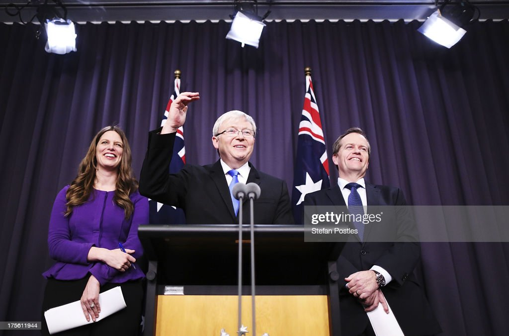 Australian Prime Minister Kevin Rudd speaks to the media whilst flanked by Childcare Minister Kate Ellis and Education Minister Bill Shorten on...