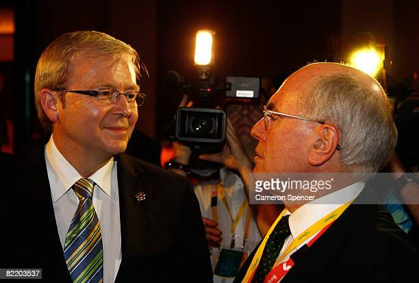 Australian Prime Minister Kevin Rudd talks to former Australian Prime Minister John Howard during the Australian Olympic team reception at the...