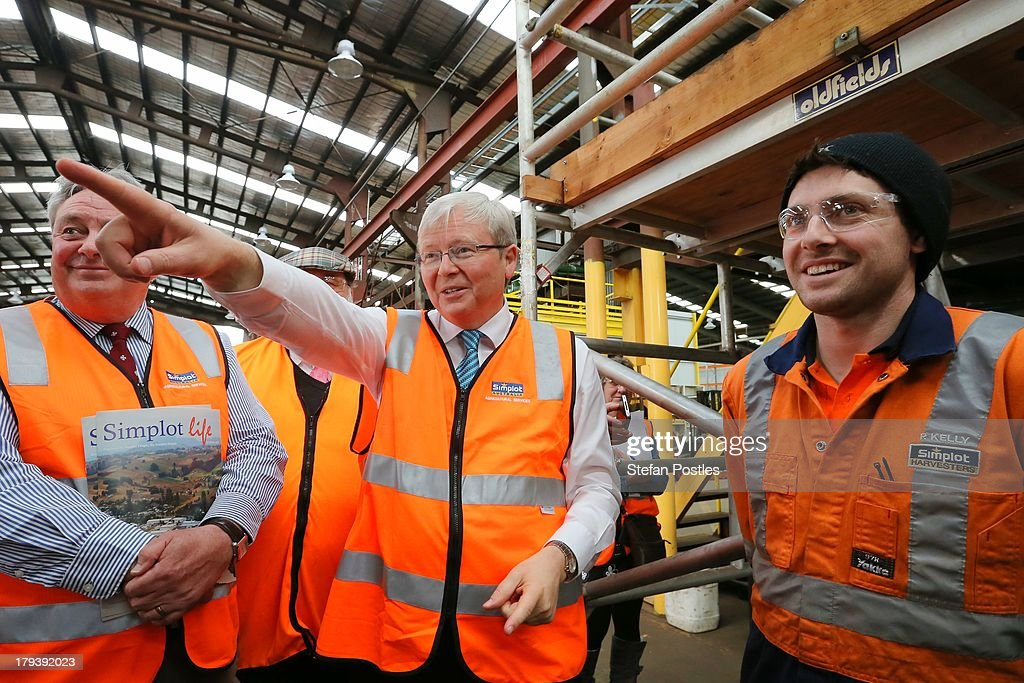Australian Prime Minister <a gi-track='captionPersonalityLinkClicked' href=/galleries/search?phrase=Kevin+Rudd&family=editorial&specificpeople=707751 ng-click='$event.stopPropagation()'>Kevin Rudd</a> talks to workers as he tours the Simplot food processing centre on September 3, 2013 in Devenport, Australia. The Australian Labor Party hold four of the five seats in the island state, but all are considered vulnerable to falling to the Liberal-National Party coalition. Australian voters will head to the polls on September 7 to elect the 44th parliament.