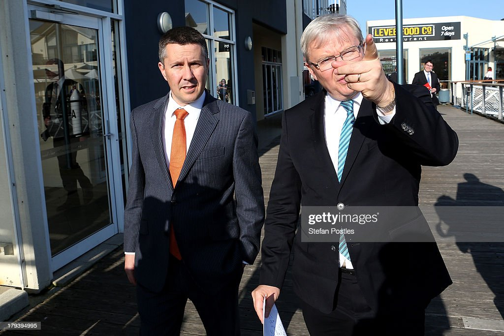 Australian Prime Minister, <a gi-track='captionPersonalityLinkClicked' href=/galleries/search?phrase=Kevin+Rudd&family=editorial&specificpeople=707751 ng-click='$event.stopPropagation()'>Kevin Rudd</a> walks with Climate Change Minister Mark Butler on September 3, 2013 in Launceston, Australia. The PM discussed the Australian Reserve Bank's decision to hold interest rates at 2.5 per cent. The Australian Labor Party hold four of the five seats in the island state, but all are considered vulnerable to falling to the Liberal-National Party coalition. Australian voters will head to the polls on September 7 to elect the 44th parliament.