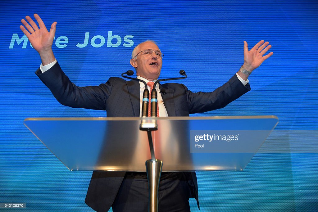 Australian Prime Minister Malcolm Turnbull addresses party members at the Coalition Campaign Launch in Sydney, Sunday, June 26, 2016. A federal election will be held in Australia on Saturday July 2.