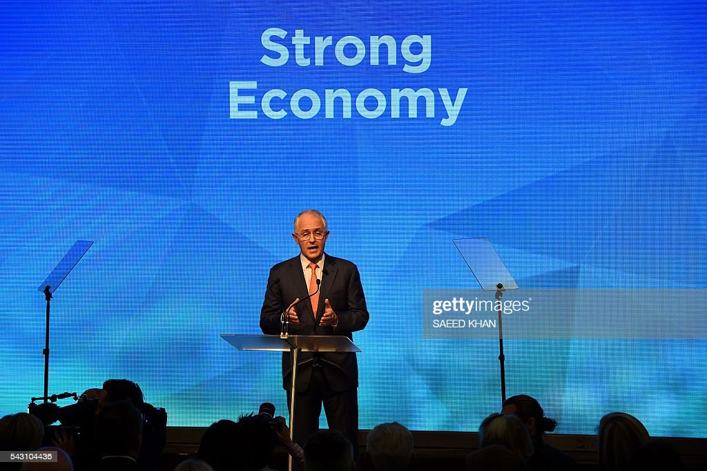 Australian Prime Minister Malcolm Turnbull addresses the Coalition Campaign launch in Sydney on June 26, 2016. Turnbull used the chaos from Brexit to make a pitch for Australians to re-elect his coalition government, promising stability and strong economic leadership a week out from national polls to be held on July 2. / AFP / SAEED