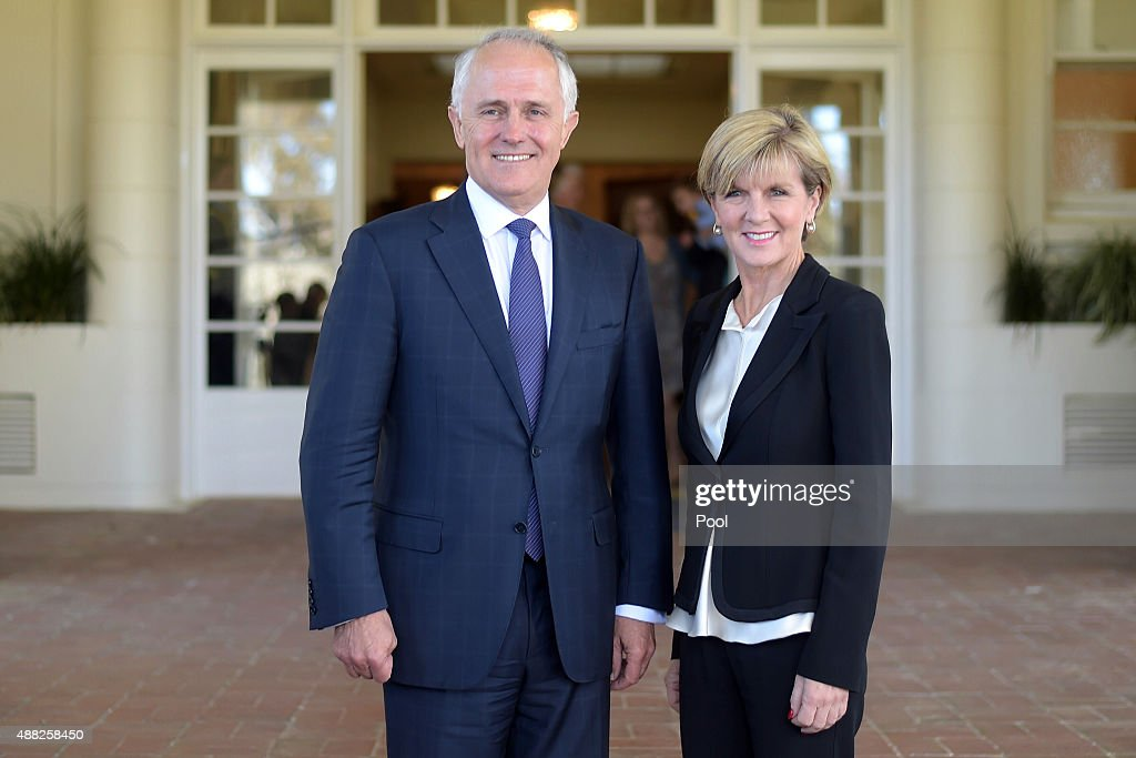 Australian Prime Minister <a gi-track='captionPersonalityLinkClicked' href=/galleries/search?phrase=Malcolm+Turnbull&family=editorial&specificpeople=2125595 ng-click='$event.stopPropagation()'>Malcolm Turnbull</a> and deputy leader of the LNP <a gi-track='captionPersonalityLinkClicked' href=/galleries/search?phrase=Julie+Bishop&family=editorial&specificpeople=1198450 ng-click='$event.stopPropagation()'>Julie Bishop</a> pose for photographs after a swearing-in ceremony at Government House at Government House on September 15, 2015 in Canberra, Australia. <a gi-track='captionPersonalityLinkClicked' href=/galleries/search?phrase=Malcolm+Turnbull&family=editorial&specificpeople=2125595 ng-click='$event.stopPropagation()'>Malcolm Turnbull</a> won a Liberal Party leadership ballot 54-44 last night, and will be sworn in this morning as 29th Australian Prime Minister by Governor-General Sir Peter Cosgrove. <a gi-track='captionPersonalityLinkClicked' href=/galleries/search?phrase=Julie+Bishop&family=editorial&specificpeople=1198450 ng-click='$event.stopPropagation()'>Julie Bishop</a> remains deputy leader, after defeating Kevin Andrews 70-30 in the party ballot.