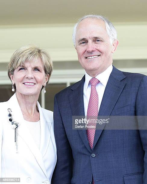 Australian Prime Minister Malcolm Turnbull and Minister for Foreign Affairs Julie Bishop pose for photographers during the offical Swearingin...