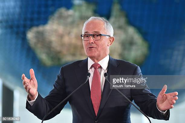 Australian Prime Minister Malcolm Turnbull delivers a speech at the National Museum of Emerging Science and Innovation on December 18 2015 in Tokyo...